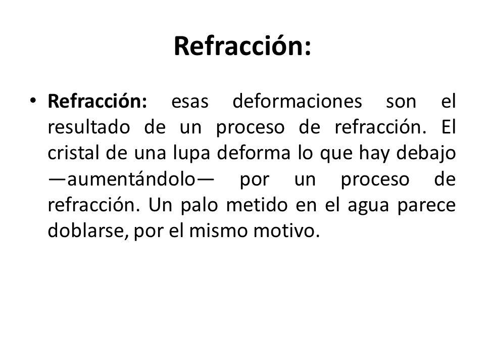 Refracción: Refracción: esas deformaciones son el resultado de un proceso de refracción. El cristal de una lupa deforma lo que hay debajo aumentándolo