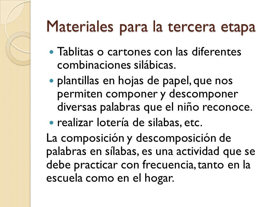 Materiales para la tercera etapa Tablitas o cartones con las diferentes combinaciones silábicas. plantillas en hojas de papel, que nos permiten compon
