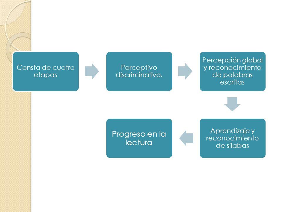 Consta de cuatro etapas Perceptivo discriminativo. Percepción global y reconocimiento de palabras escritas Aprendizaje y reconocimiento de silabas Pro