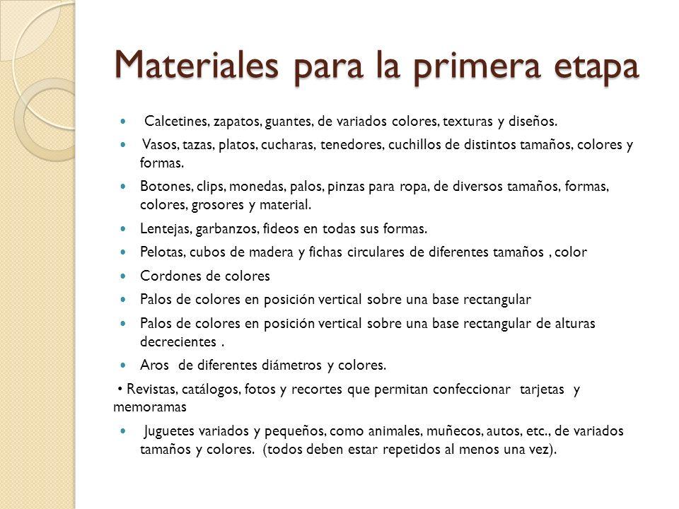 Materiales para la primera etapa Calcetines, zapatos, guantes, de variados colores, texturas y diseños. Vasos, tazas, platos, cucharas, tenedores, cuc