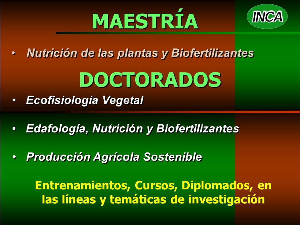 MAESTRÍA Nutrición de las plantas y Biofertilizantes DOCTORADOS Edafología, Nutrición y Biofertilizantes Ecofisiología Vegetal Producción Agrícola Sostenible Entrenamientos, Cursos, Diplomados, en las líneas y temáticas de investigación