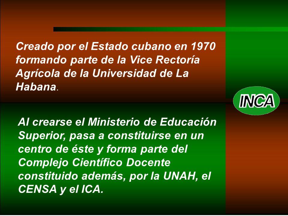 Creado por el Estado cubano en 1970 formando parte de la Vice Rectoría Agrícola de la Universidad de La Habana.