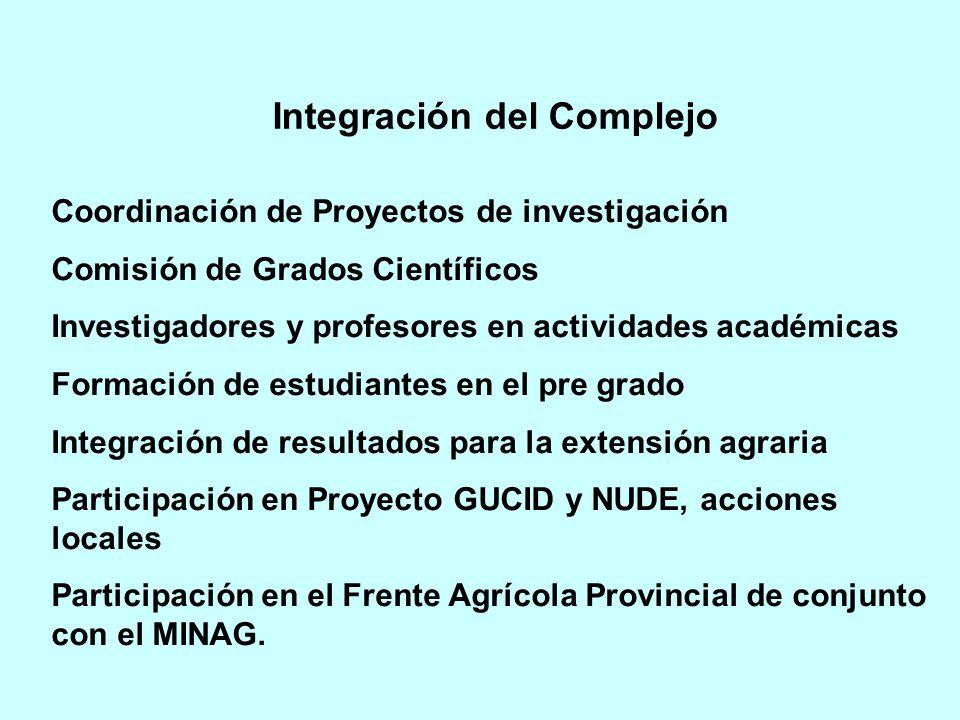 Coordinación de Proyectos de investigación Comisión de Grados Científicos Investigadores y profesores en actividades académicas Formación de estudiantes en el pre grado Integración de resultados para la extensión agraria Participación en Proyecto GUCID y NUDE, acciones locales Participación en el Frente Agrícola Provincial de conjunto con el MINAG.