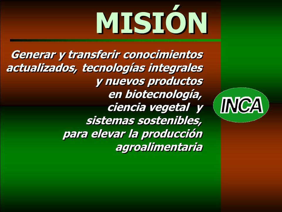 Generar y transferir conocimientos actualizados, tecnologías integrales y nuevos productos en biotecnología, ciencia vegetal y sistemas sostenibles, para elevar la producción agroalimentaria MISIÓN