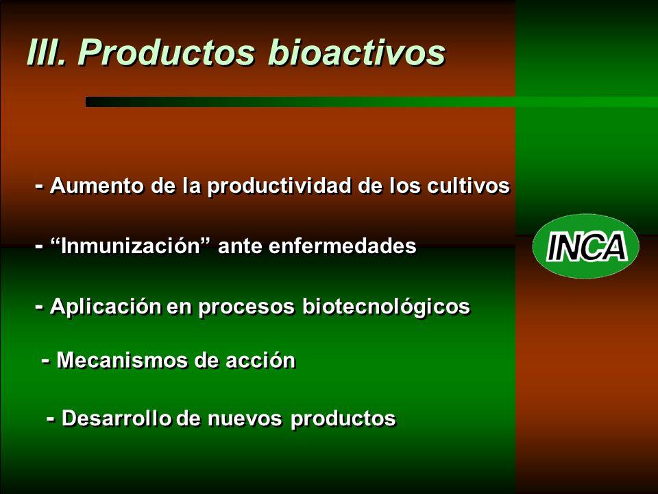 III. Productos bioactivos - Aumento de la productividad de los cultivos - Inmunización ante enfermedades - Aplicación en procesos biotecnológicos - Me