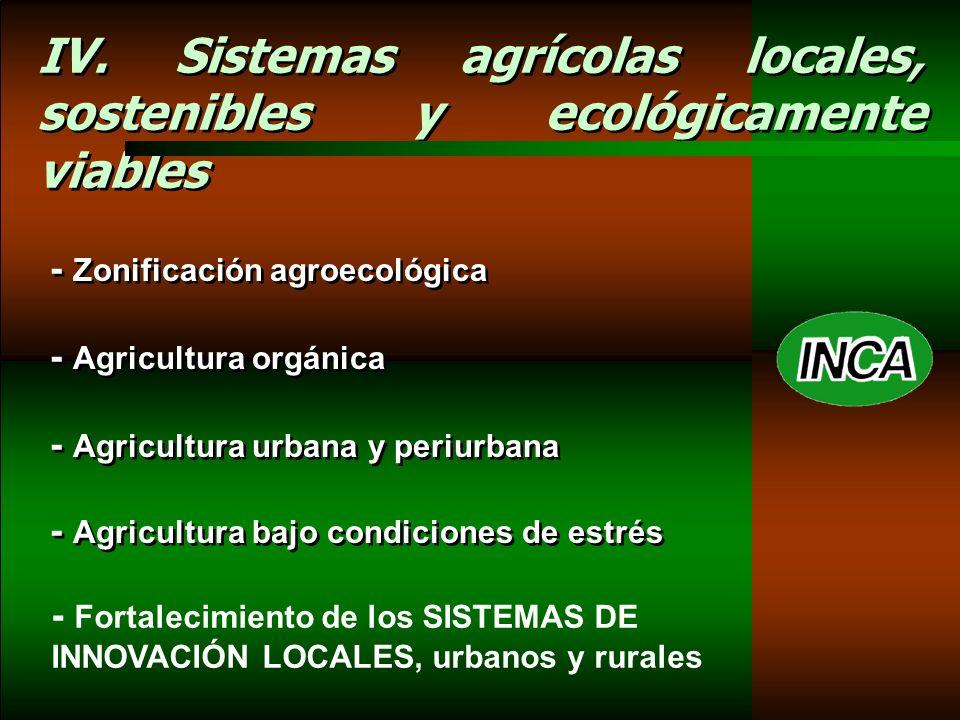 IV. Sistemas agrícolas locales, sostenibles y ecológicamente viables - Zonificación agroecológica - Agricultura orgánica - Agricultura urbana y periur