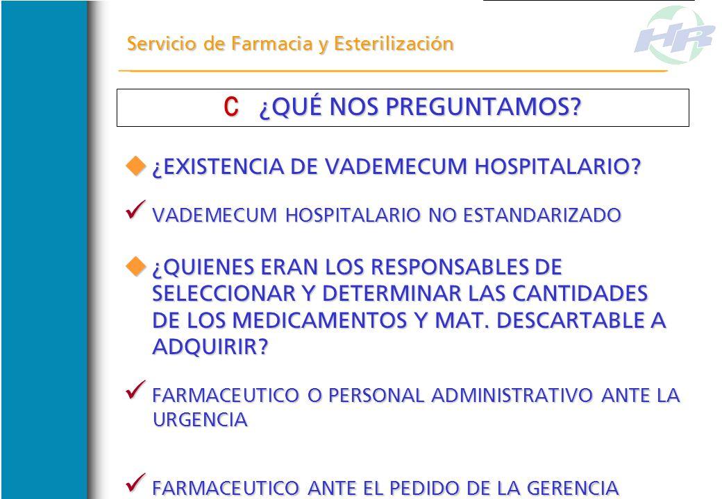 Servicio de Farmacia y Esterilización DESCREDITO DEL FUNCIONAMIENTO DEL SERVICIO ANTE EL NIVEL DIRECTIVO Y LOS DEMAS SERVICIOS DESCREDITO DEL FUNCIONA