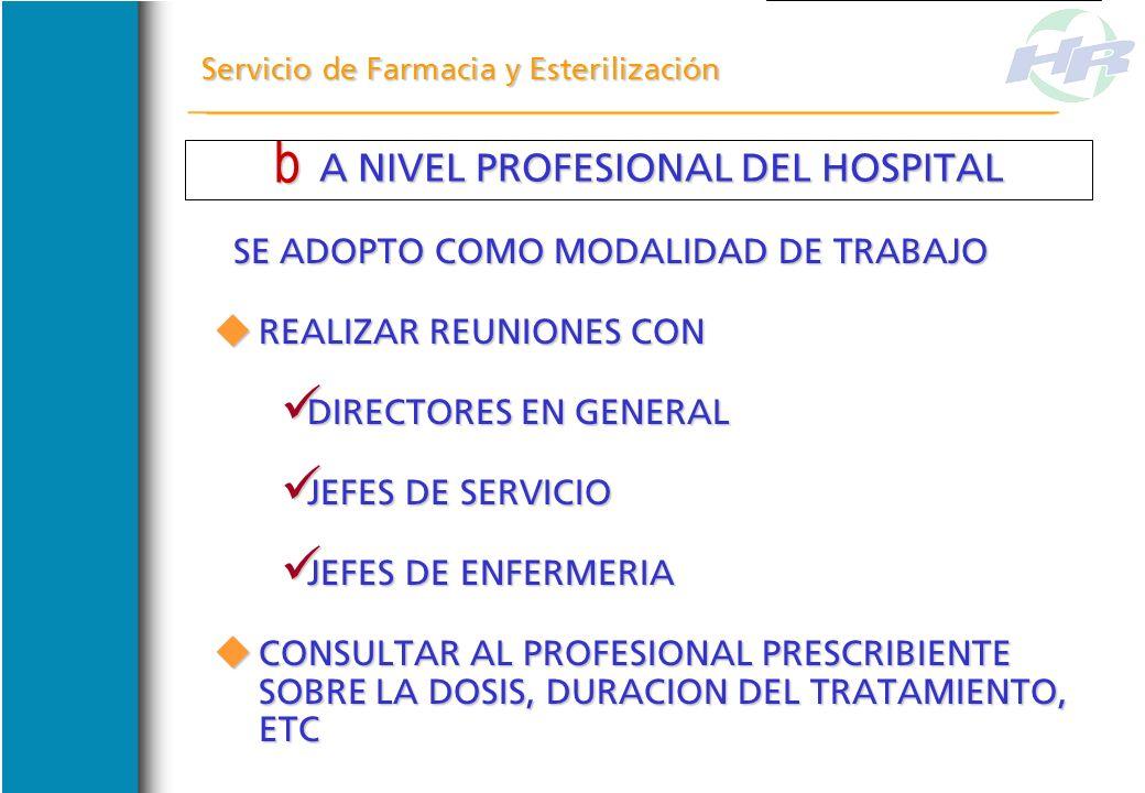 A NIVEL GERENCIAL DEL HOSPITAL A NIVEL GERENCIAL DEL HOSPITAL Servicio de Farmacia y Esterilización SE RECABO INFORMACION SOBRE LAS ADQUISICIONES EN T