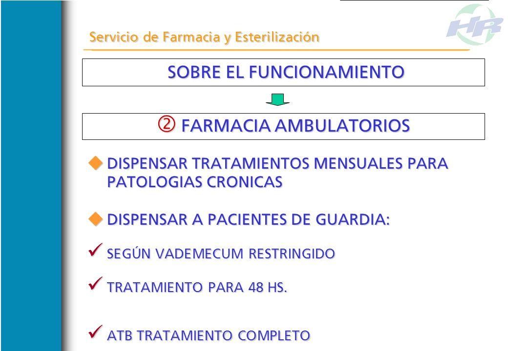 SOBRE EL FUNCIONAMIENTO SOBRE EL FUNCIONAMIENTO Servicio de Farmacia y Esterilización FARMACIA AMBULATORIOS FARMACIA AMBULATORIOS DISPENSAR RECETAS CO