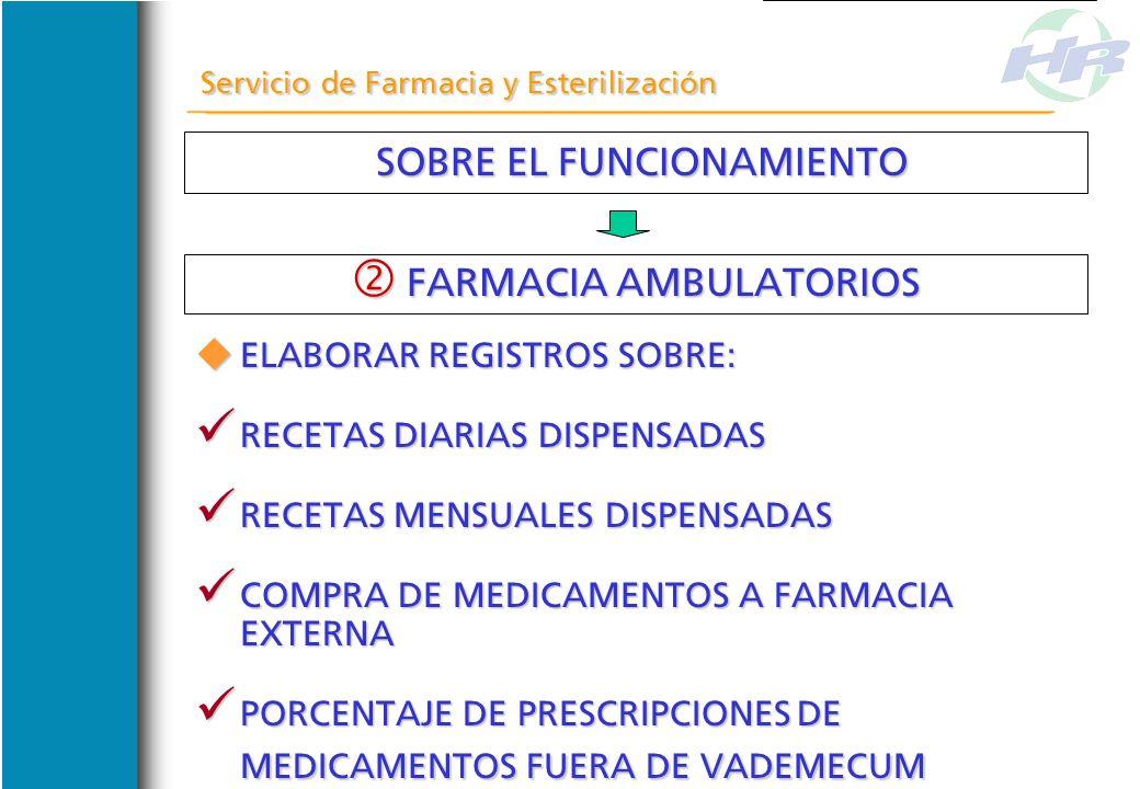 SOBRE EL FUNCIONAMIENTO SOBRE EL FUNCIONAMIENTO Servicio de Farmacia y Esterilización FARMACIA AMBULATORIOS FARMACIA AMBULATORIOS DISPENSAR TRATAMIENT