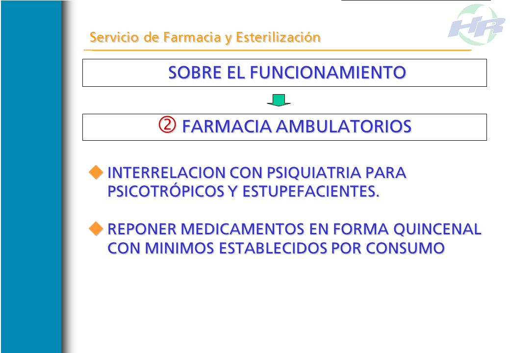 SOBRE EL FUNCIONAMIENTO SOBRE EL FUNCIONAMIENTO Servicio de Farmacia y Esterilización FARMACIA AMBULATORIOS FARMACIA AMBULATORIOS ELABORAR REGISTROS S