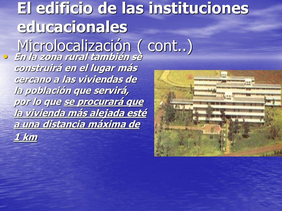 El edificio de las instituciones educacionales Microlocalización El edificio se orientará de forma tal que reciba una buena ventilación y adecuada exp