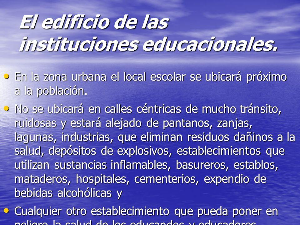El edificio de las instituciones educacionales. Los edificios deben recibir la radiación solar y procurar la máxima ventilación para evitar la humedad