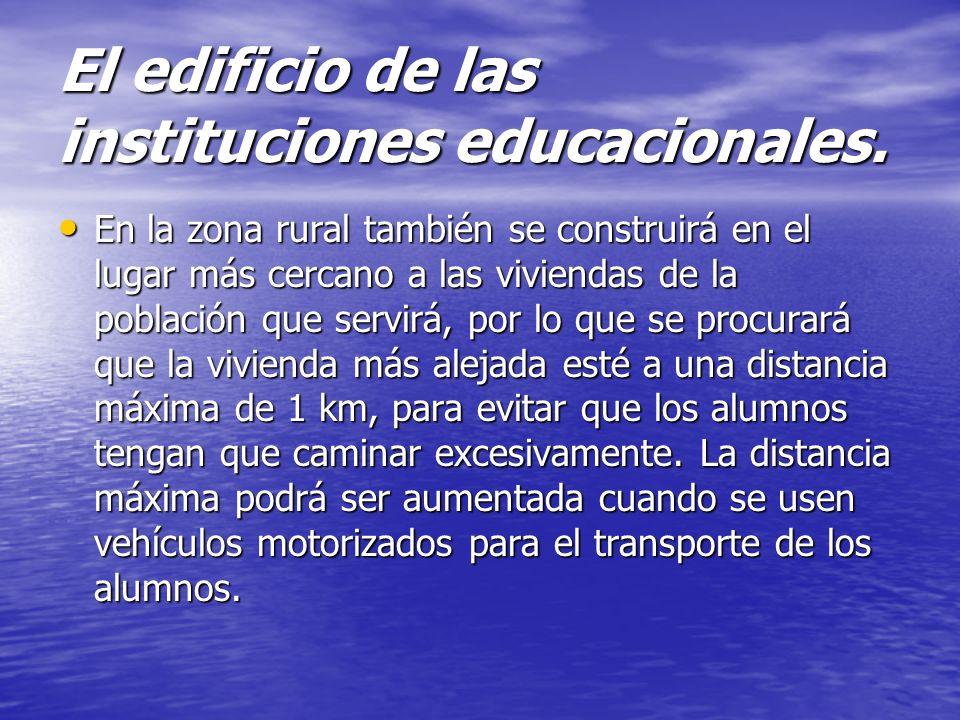 El edificio de las instituciones educacionales. En la zona urbana el local escolar se ubicará próximo a la población. En la zona urbana el local escol