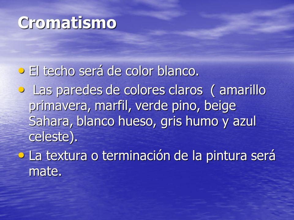 Cromatismo. Los colores en el interior del aula, tienen una gran importancia, ya que si se utilizan adecuadamente pueden favorecer la iluminación y po