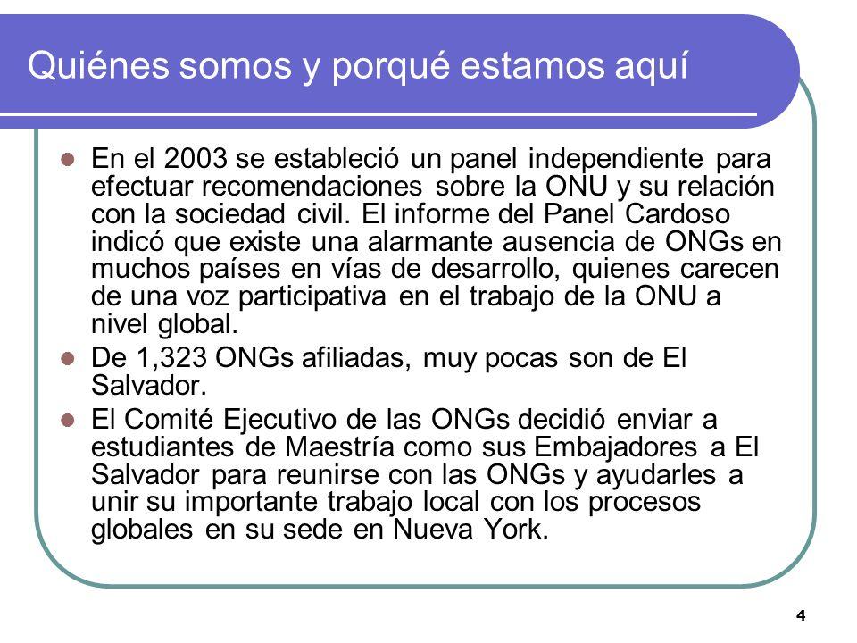 4 Quiénes somos y porqué estamos aquí En el 2003 se estableció un panel independiente para efectuar recomendaciones sobre la ONU y su relación con la sociedad civil.