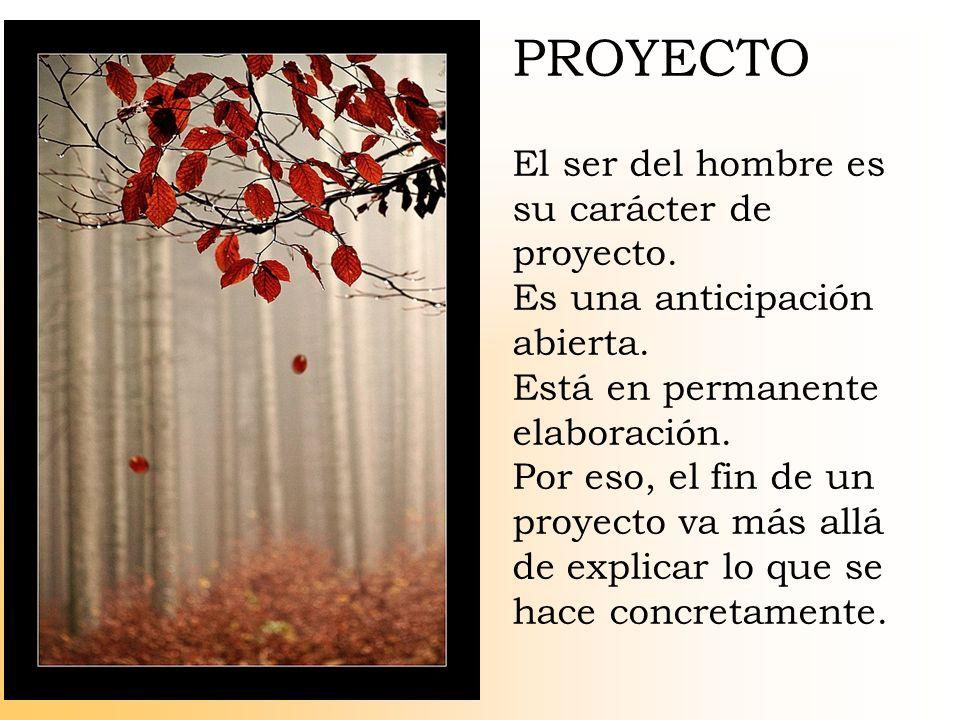PROYECTO El ser del hombre es su carácter de proyecto.
