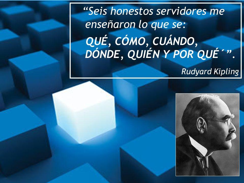 Seis honestos servidores me enseñaron lo que se: QUÉ, CÓMO, CUÁNDO, DÓNDE, QUIÉN Y POR QUÉ´. Rudyard Kipling