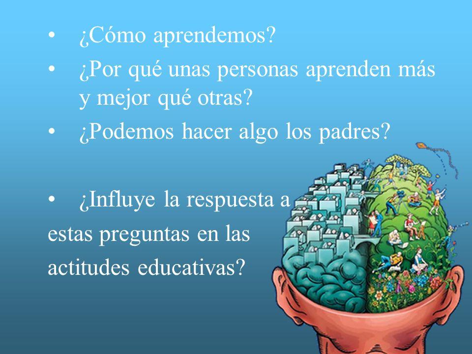 ¿Cómo aprendemos? ¿Por qué unas personas aprenden más y mejor qué otras? ¿Podemos hacer algo los padres? ¿Influye la respuesta a estas preguntas en la