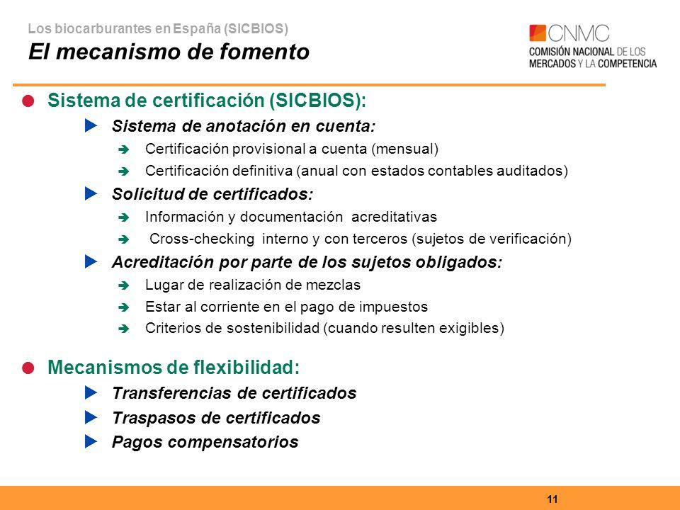 11 Sistema de certificación (SICBIOS): Sistema de anotación en cuenta: Certificación provisional a cuenta (mensual) Certificación definitiva (anual con estados contables auditados) Solicitud de certificados: Información y documentación acreditativas Cross-checking interno y con terceros (sujetos de verificación) Acreditación por parte de los sujetos obligados: Lugar de realización de mezclas Estar al corriente en el pago de impuestos Criterios de sostenibilidad (cuando resulten exigibles) Mecanismos de flexibilidad: Transferencias de certificados Traspasos de certificados Pagos compensatorios Los biocarburantes en España (SICBIOS) El mecanismo de fomento