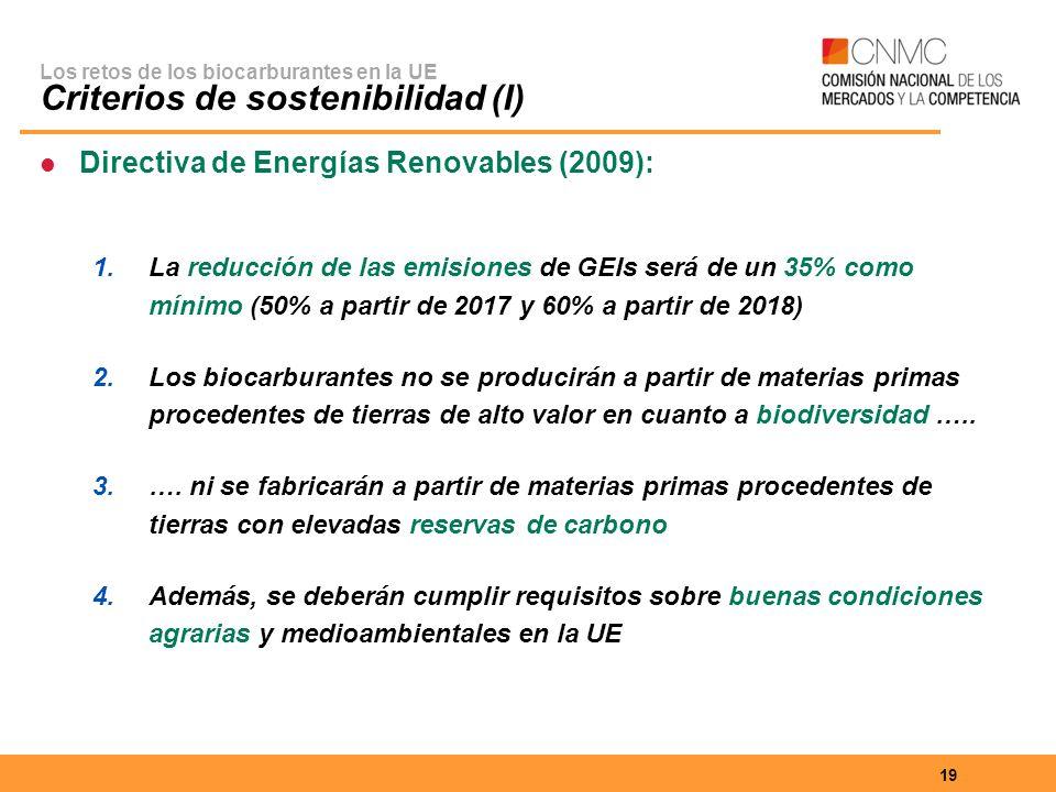 19 Los retos de los biocarburantes en la UE Criterios de sostenibilidad (I) Directiva de Energías Renovables (2009): 1.La reducción de las emisiones de GEIs será de un 35% como mínimo (50% a partir de 2017 y 60% a partir de 2018) 2.Los biocarburantes no se producirán a partir de materias primas procedentes de tierras de alto valor en cuanto a biodiversidad …..