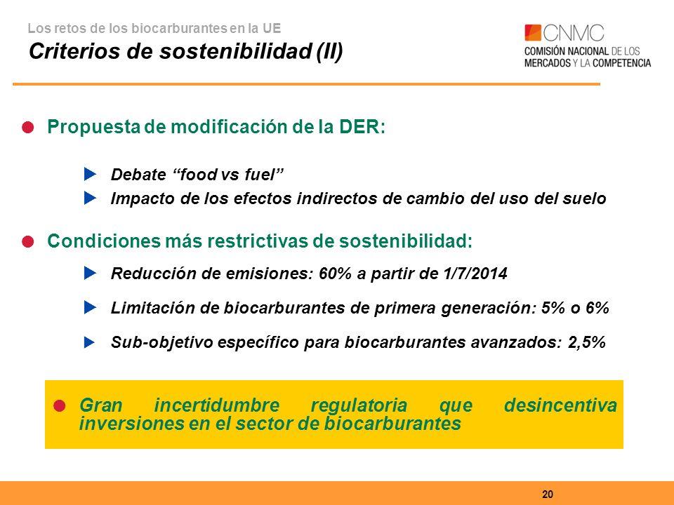 20 Propuesta de modificación de la DER: Debate food vs fuel Impacto de los efectos indirectos de cambio del uso del suelo Condiciones más restrictivas de sostenibilidad: Reducción de emisiones: 60% a partir de 1/7/2014 Limitación de biocarburantes de primera generación: 5% o 6% Sub-objetivo específico para biocarburantes avanzados: 2,5% Los retos de los biocarburantes en la UE Criterios de sostenibilidad (II) Gran incertidumbre regulatoria que desincentiva inversiones en el sector de biocarburantes
