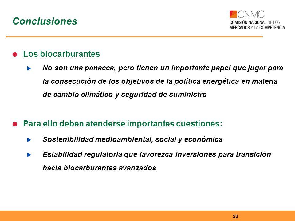 Los biocarburantes No son una panacea, pero tienen un importante papel que jugar para la consecución de los objetivos de la política energética en materia de cambio climático y seguridad de suministro Para ello deben atenderse importantes cuestiones: Sostenibilidad medioambiental, social y económica Estabilidad regulatoria que favorezca inversiones para transición hacia biocarburantes avanzados 23