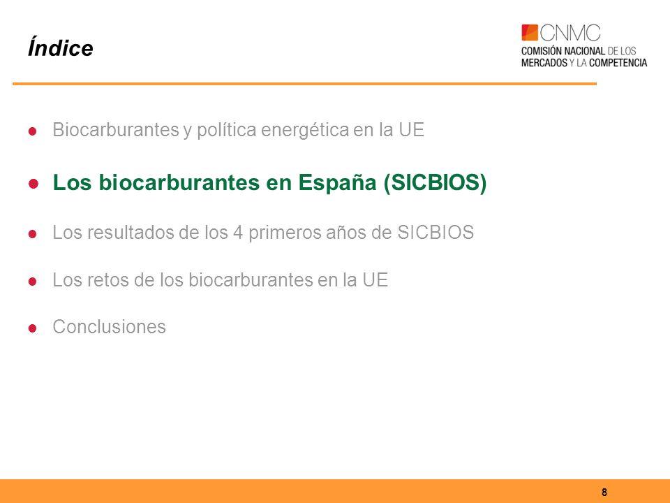 8 Índice Biocarburantes y política energética en la UE Los biocarburantes en España (SICBIOS) Los resultados de los 4 primeros años de SICBIOS Los retos de los biocarburantes en la UE Conclusiones