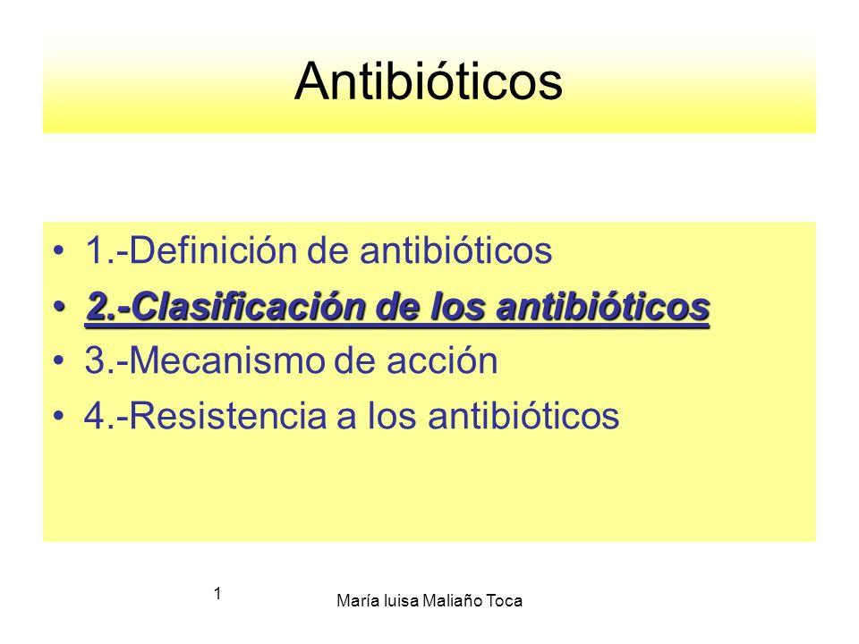 María luisa Maliaño Toca 1 Antibióticos 1.-Definición de antibióticos 2.-Clasificación de los antibióticos2.-Clasificación de los antibióticos 3.-Mecanismo de acción 4.-Resistencia a los antibióticos