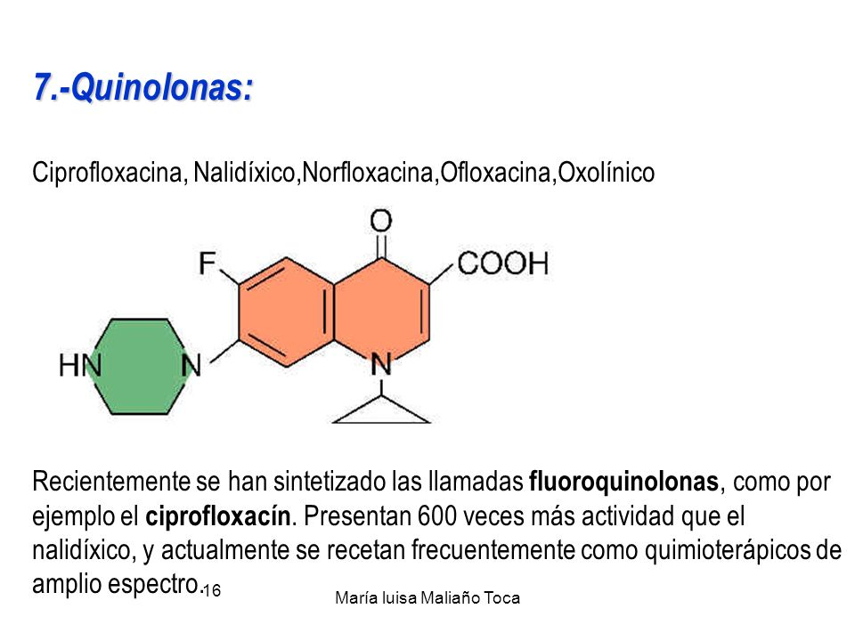 María luisa Maliaño Toca 15 4.-Tetraciclinas… 5.- Polipéptidos 5.- Polipéptidos : VancomicinaVancomicina 6.- Anfenicoles: 6.- Anfenicoles: Azidanfenic