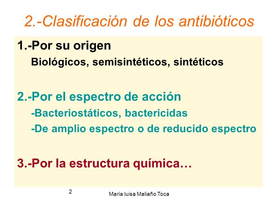 María luisa Maliaño Toca 2 2.-Clasificación de los antibióticos 1.-Por su origen Biológicos, semisintéticos, sintéticos 2.-Por el espectro de acción -Bacteriostáticos, bactericidas -De amplio espectro o de reducido espectro 3.-Por la estructura química…