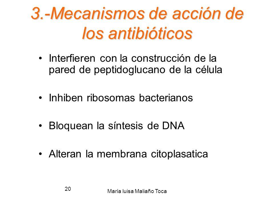 María luisa Maliaño Toca 19 Antibióticos 1.-Definición de antibióticos 2.-Clasificación de los antibióticos 3.-Mecanismo de acción3.-Mecanismo de acci