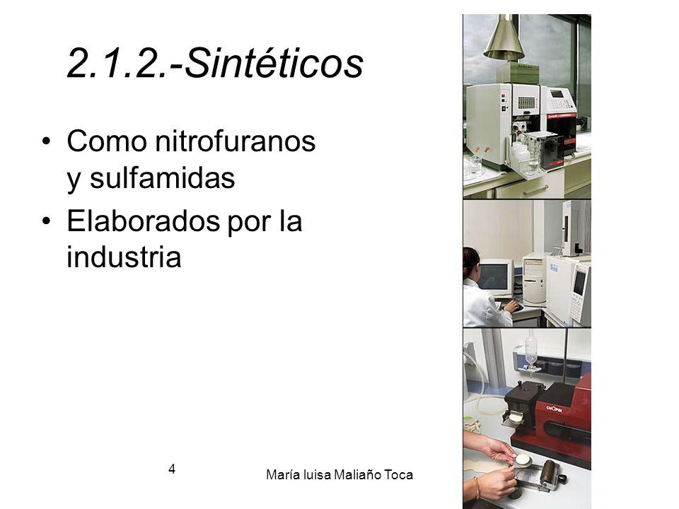 María luisa Maliaño Toca 3 2.1.1.- Biológicos: Antibioticos verdaderos. Origen biológico: -Bacterias (Actinomices) -Hongos (Penicilium)
