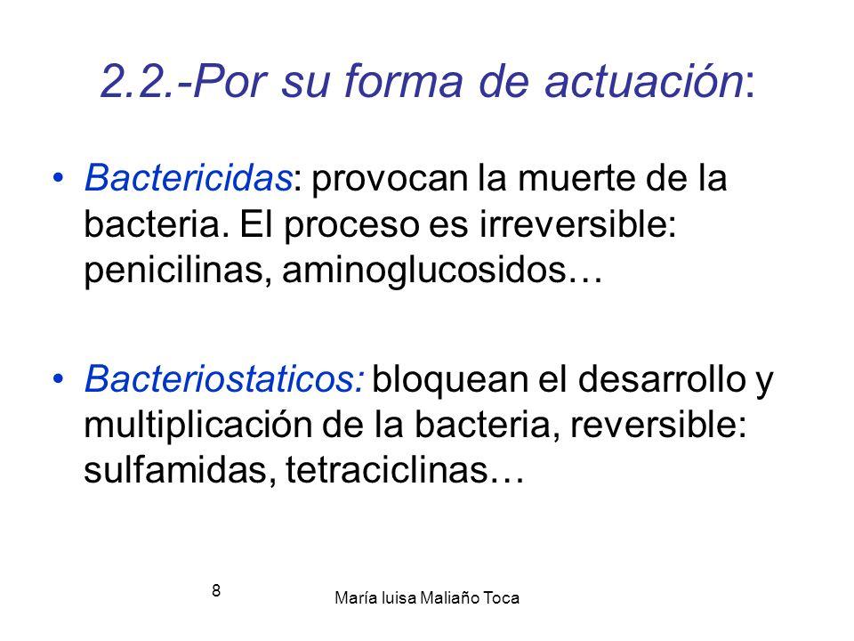 María luisa Maliaño Toca 8 2.2.-Por su forma de actuación: Bactericidas: provocan la muerte de la bacteria.