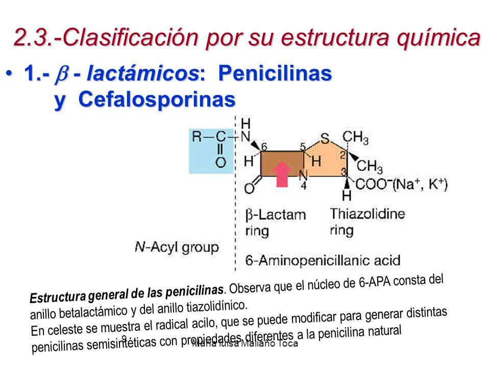 María luisa Maliaño Toca 9 2.3.-Clasificación por su estructura química 1.- - lactámicos: Penicilinas y Cefalosporinas1.- - lactámicos: Penicilinas y Cefalosporinas Estructura general de las penicilinas.