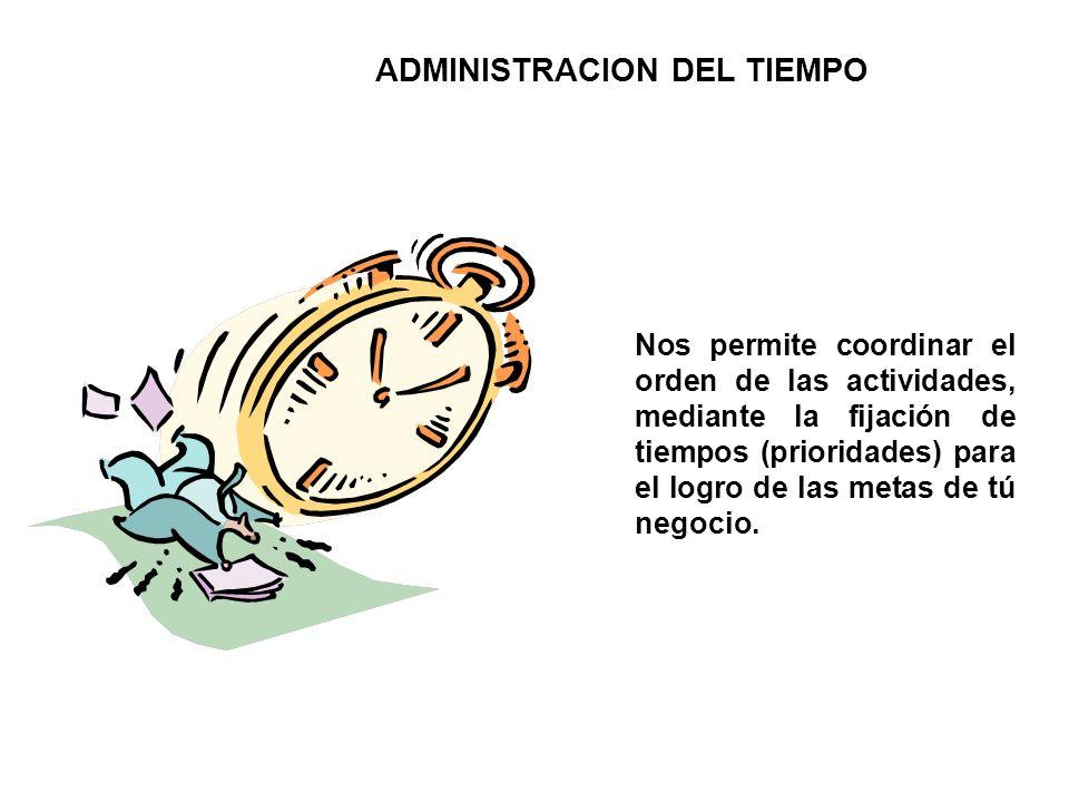 ADMINISTRACION DEL TIEMPO Nos permite coordinar el orden de las actividades, mediante la fijación de tiempos (prioridades) para el logro de las metas de tú negocio.