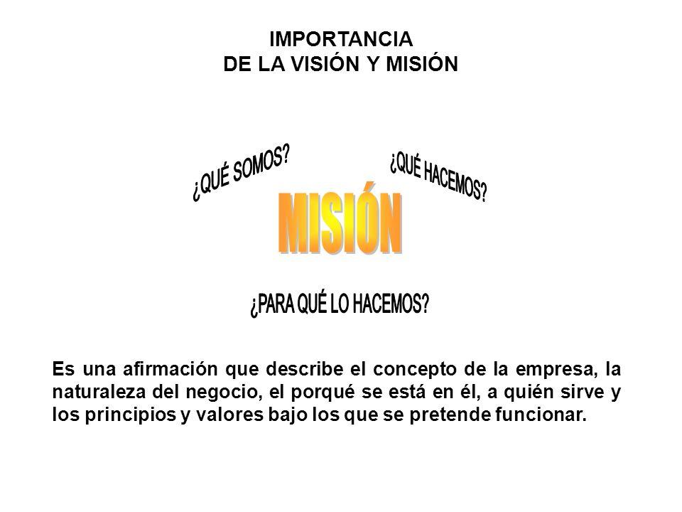 IMPORTANCIA DE LA VISIÓN Y MISIÓN Es una afirmación que describe el concepto de la empresa, la naturaleza del negocio, el porqué se está en él, a quién sirve y los principios y valores bajo los que se pretende funcionar.