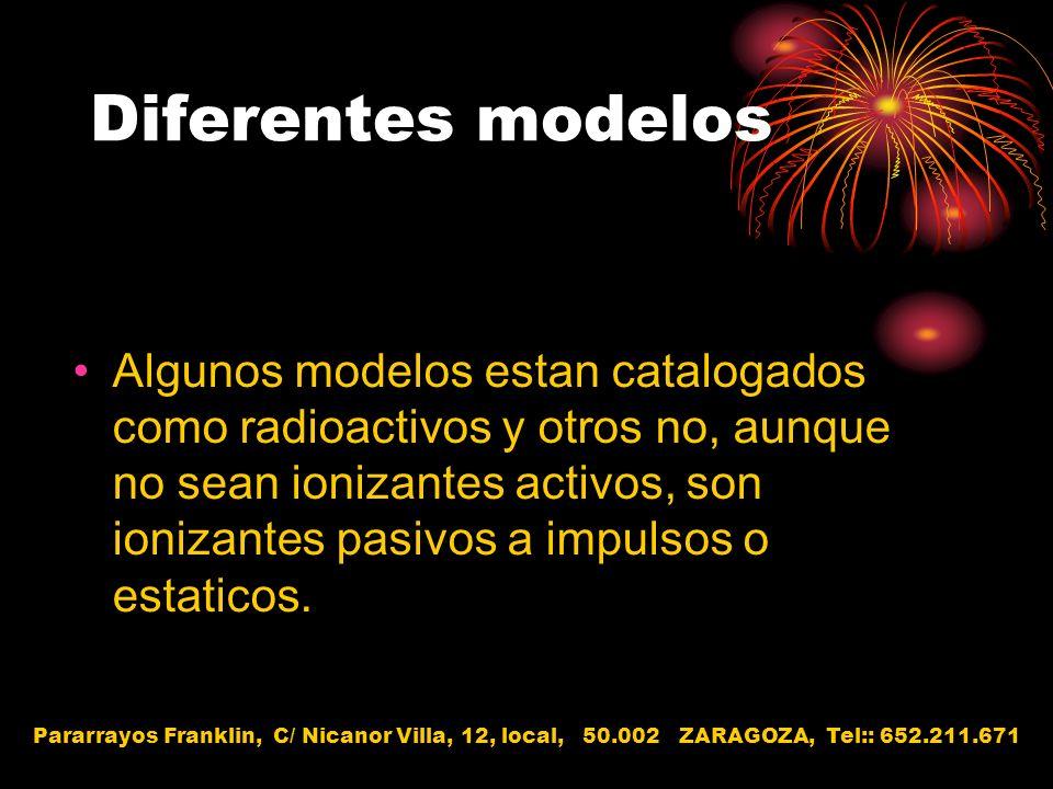 Diferentes modelos Algunos modelos estan catalogados como radioactivos y otros no, aunque no sean ionizantes activos, son ionizantes pasivos a impulso