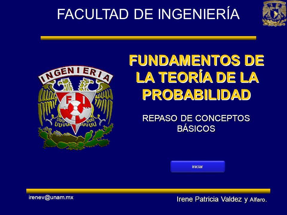 FACULTAD DE INGENIERÍA FUNDAMENTOS DE LA TEORÍA DE LA PROBABILIDAD Irene Patricia Valdez y Alfaro. irenev@unam.mx REPASO DE CONCEPTOS BÁSICOS iniciar