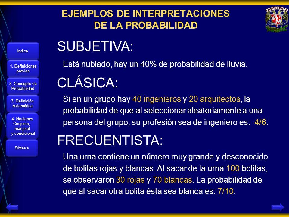 Índice 1. Definiciones 1. Definiciones previas 1. Definiciones 1. Definiciones previas 2. Concepto de 2. Concepto de Probabilidad 2. Concepto de 2. Co