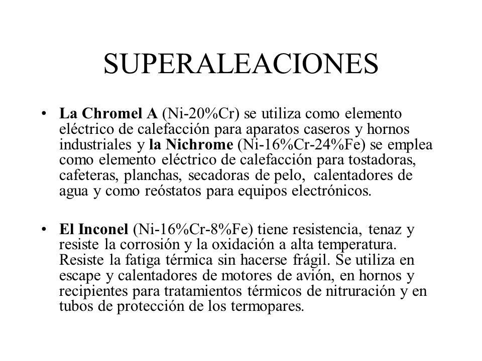 SUPERALEACIONES La Hastelloy D (Ni-10%Si-3%Cu) es una aleación de fundición fuerte, tenaz, extremadamente dura y tiene una excelente resistencia a la
