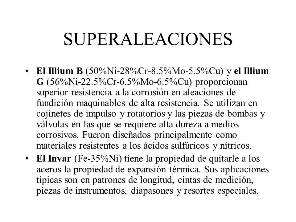 SUPERALEACIONES La Chromel A (Ni-20%Cr) se utiliza como elemento eléctrico de calefacción para aparatos caseros y hornos industriales y la Nichrome (N