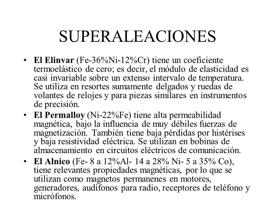 SUPERALEACIONES El Illium B (50%Ni-28%Cr-8.5%Mo-5.5%Cu) y el Illium G (56%Ni-22.5%Cr-6.5%Mo-6.5%Cu) proporcionan superior resistencia a la corrosión e