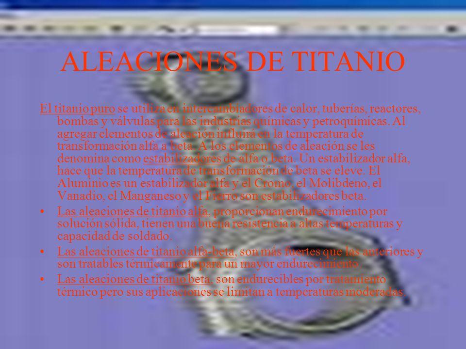 ALEACIONES DE TITANIO El titanio es el cuarto elemento más abundante pero su proceso de obtenerlo aun es relativamente costoso. Tiene una resistencia