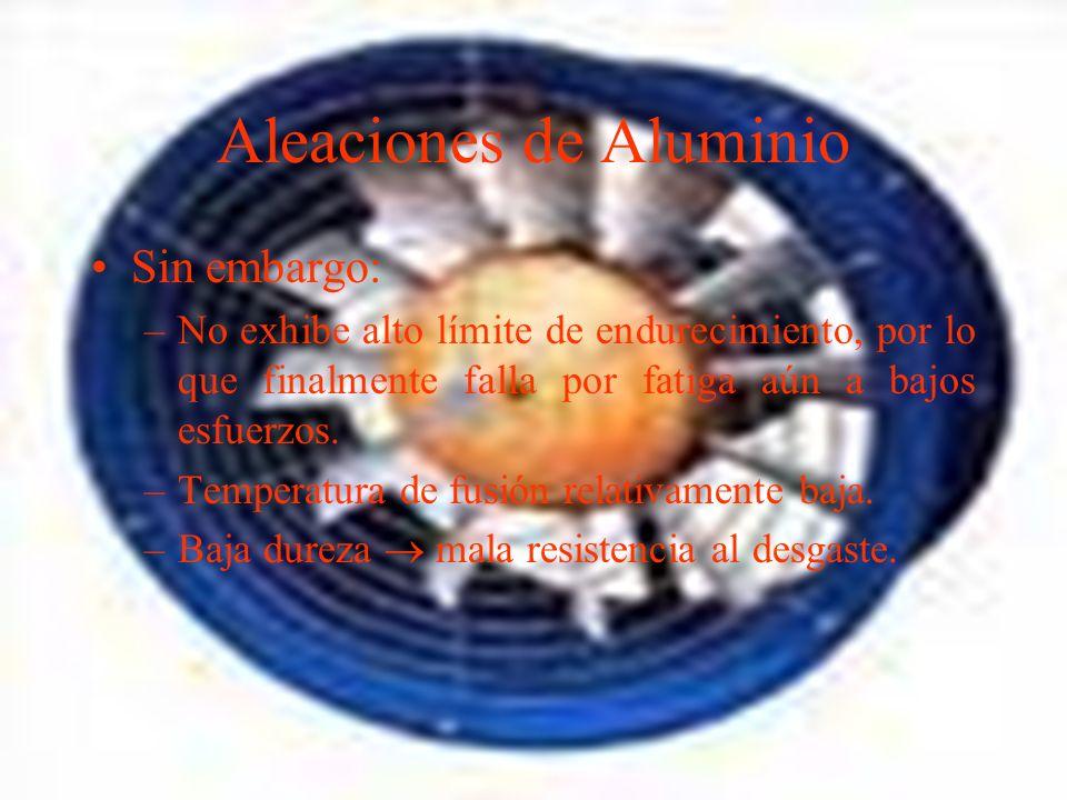 Aleaciones de Aluminio Sin embargo: –No exhibe alto límite de endurecimiento, por lo que finalmente falla por fatiga aún a bajos esfuerzos.