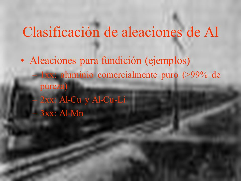 Clasificación de aleaciones de Al Aleaciones para fundición (ejemplos) –1xx: aluminio comercialmente puro (>99% de pureza) –2xx: Al-Cu y Al-Cu-Li –3xx: Al-Mn