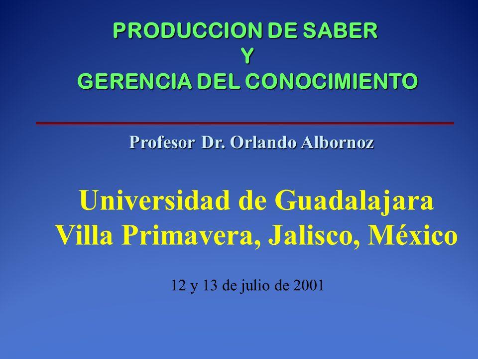 PRODUCCION DE SABER Y GERENCIA DEL CONOCIMIENTO Profesor Dr.