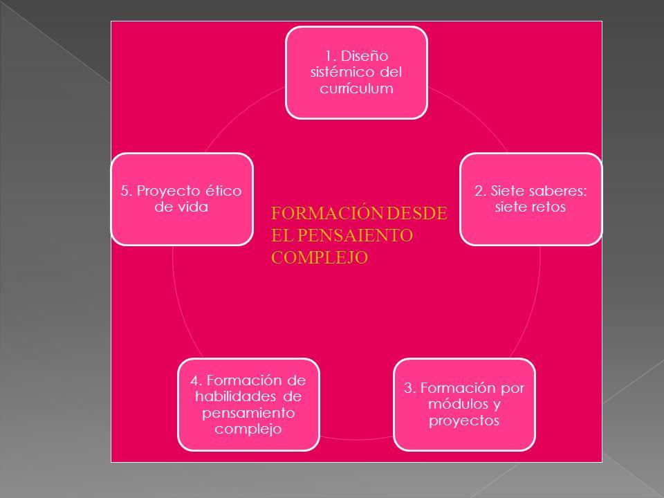 1. Diseño sistémico del currículum 2. Siete saberes: siete retos 3. Formación por módulos y proyectos 4. Formación de habilidades de pensamiento compl