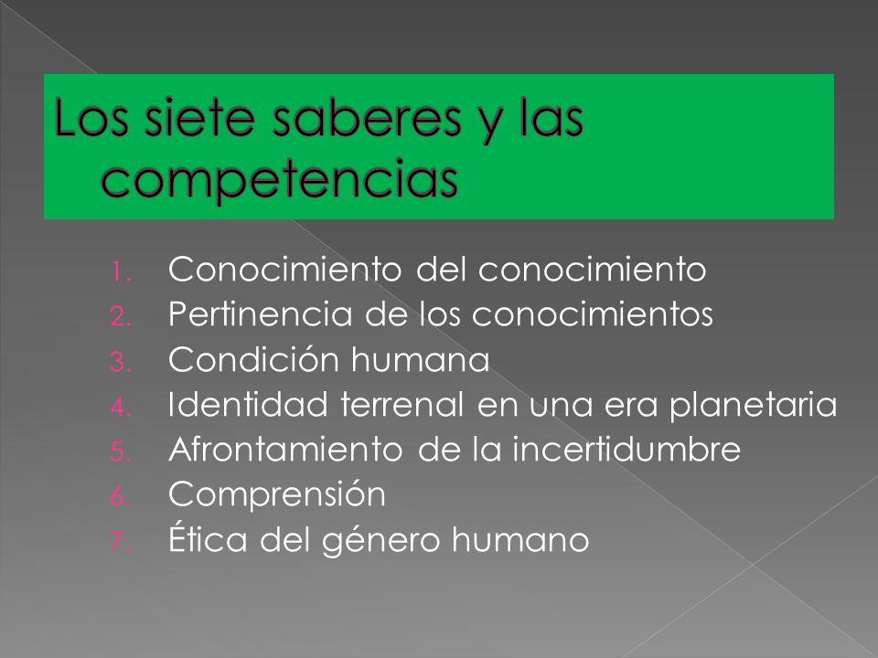 1. Conocimiento del conocimiento 2. Pertinencia de los conocimientos 3. Condición humana 4. Identidad terrenal en una era planetaria 5. Afrontamiento