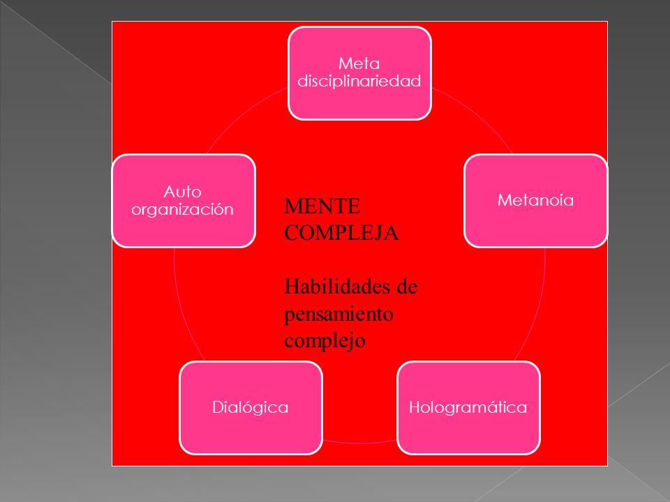 Meta disciplinariedad MetanoiaHologramáticaDialógica Auto organización MENTE COMPLEJA Habilidades de pensamiento complejo
